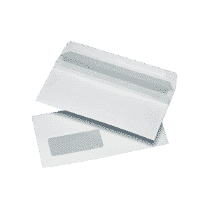 1000 White DL Windowed (35mm x 90mm) Self Seal Envelopes (121mm x 235mm)