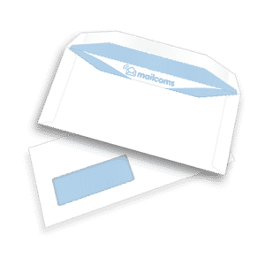 1000 White DL+ Gummed Plain Windowed (45mm x 90mm Window) Folding Inserting Machine Envelopes (114mm x 235mm)