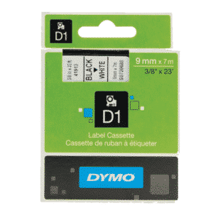 Dymo Black on White 1000-5000 D1 Standard Tape 9mmx7m S0720680