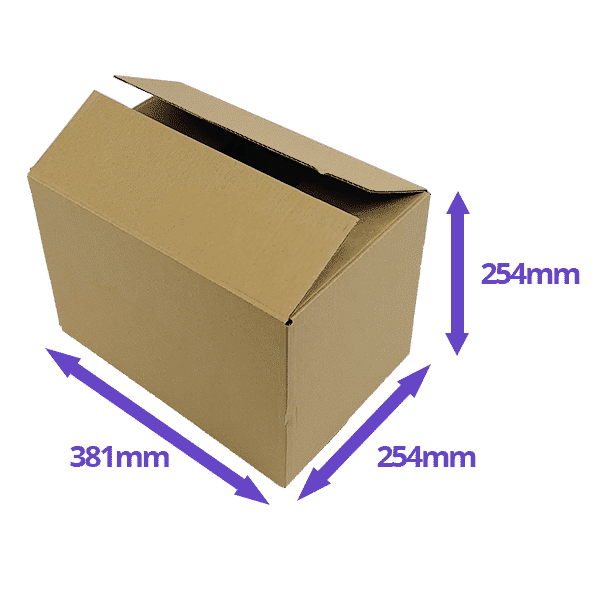 Single Wall Cardboard Boxes - 381x254x254mm - Pack Of 10, 25 & 50