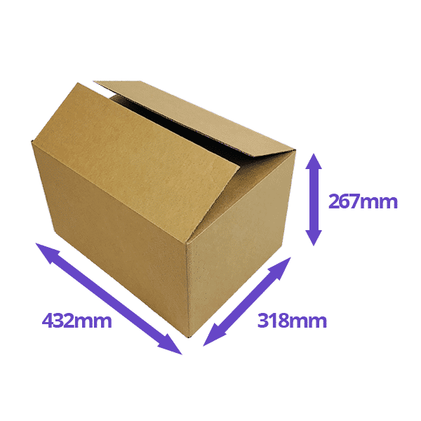 Single Wall Cardboard Boxes - 432x318x267mm - Pack Of 10, 25 & 50