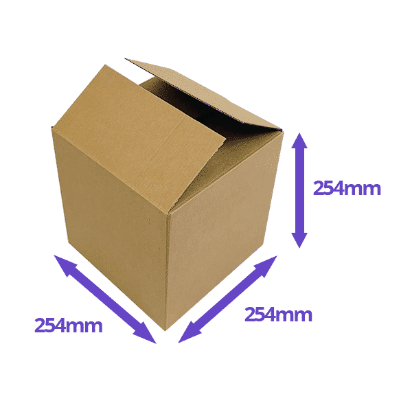 Single Wall Cardboard Boxes - 254x254x254mm - Pack Of 10, 25 & 50