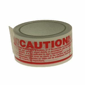 White & Red Caution Packing Tape - 48mmx66m