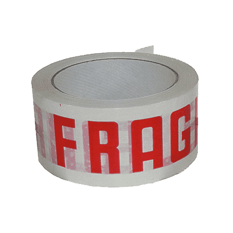 White & Red Fragile Packing Tape - 48mmx66m