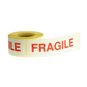 White & Red Fragile Warning Labels - 152mmx51mm