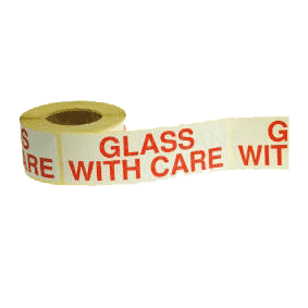 White & Red Glass With Care Warning Labels - 152mmx51mm