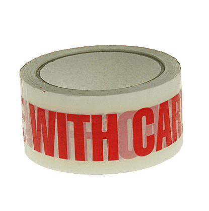 White & Red Handle With Care Packing Tape - 48mmx66m