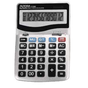 Aurora Grey & Black 12-Digit Desk Calculator DT303