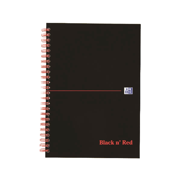 Black n' Red Ruled Perforated Wirebound Hardback Notebook A5 (Pack of 5)