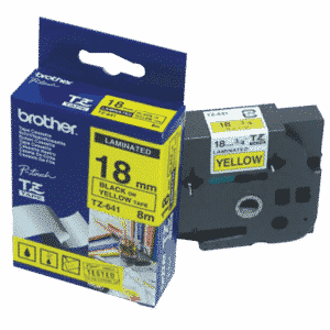 Brother P-Touch 18mm Black on Yellow TZE641 Labelling Tape