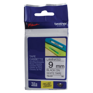 Brother P-Touch 9mm Black on White TZE221 Labelling Tape