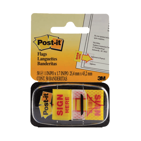 Post-it Index Tabs Sign Here Yellow (Pack of 50) 680-9