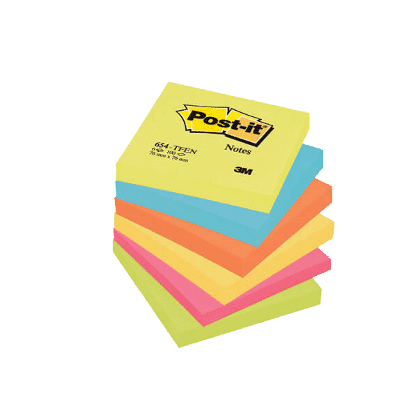Post-it Notes 76 x 76mm Energy Colours (Pack of 6)
