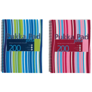 Pukka Pad Stripes Polypropylene Wirebound Jotta Notebook 200 Pages A4 BluePink (Pack of 3)