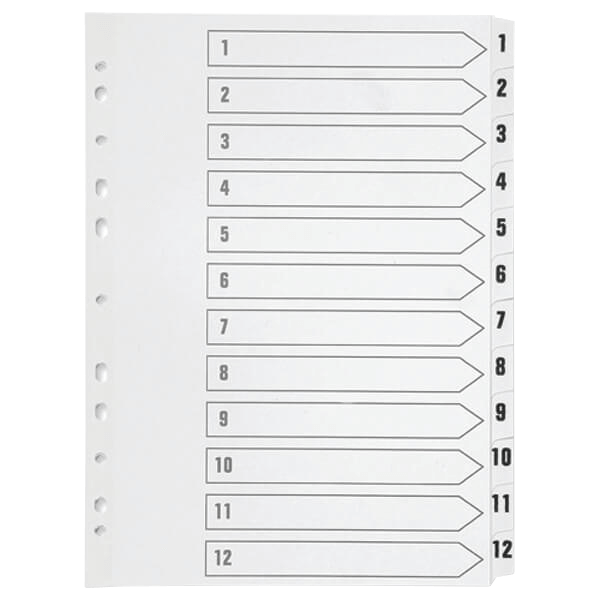 Q-Connect 1-12 Index Multi-punched Polypropylene White A4