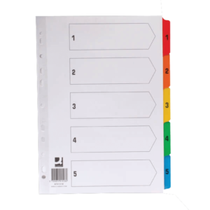Q-Connect 1-5 Index Multi-punched Reinforced Board Multi-Colour Numbered Tabs A4 White