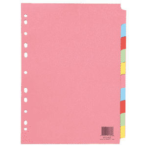 Q-Connect 10-Part Subject Divider Multi-Punched A4