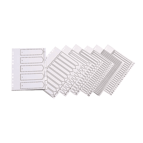 Q-Connect 20-Part A-Z Index Multi-punched Polypropylene White A4