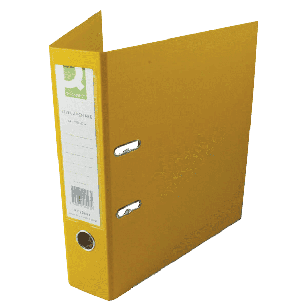 Q-Connect 70mm Lever Arch File Polypropylene A4 Yellow (Pack of 10)