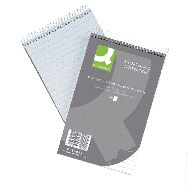 Q-Connect Feint Ruled Shorthand Notebook 300 Pages 203x127mm (Pack of 10)