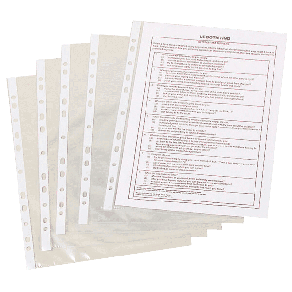 Q-Connect Punched Pockets Polypropylene 50 Micron A4 Clear (Pack of 100) - 2