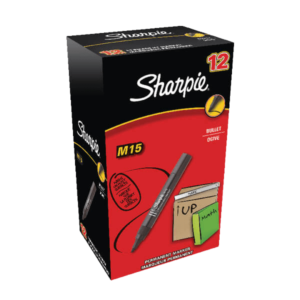 Sharpie M15 Permanent Marker Bullet Tip Black (Pack of 12)