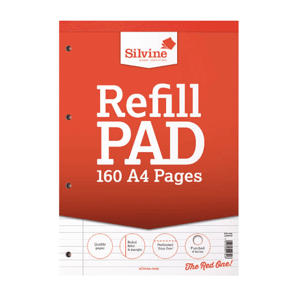Silvine Ruled Margin Punched Headbound Refill Pad 160 Pages A4 Pad (Pack of 6)