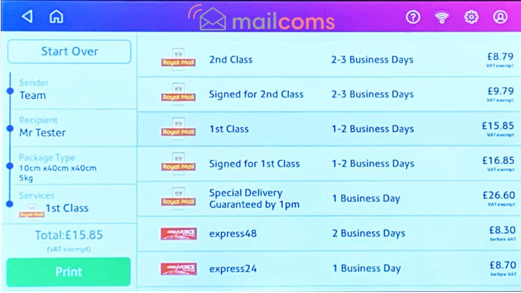 Mailsend+ Royal Mail & Parcelforce Selection