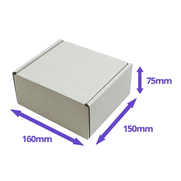White PiP Small Parcel Postal Box - 160x150x75mm - Packs of 10, 25 & 50