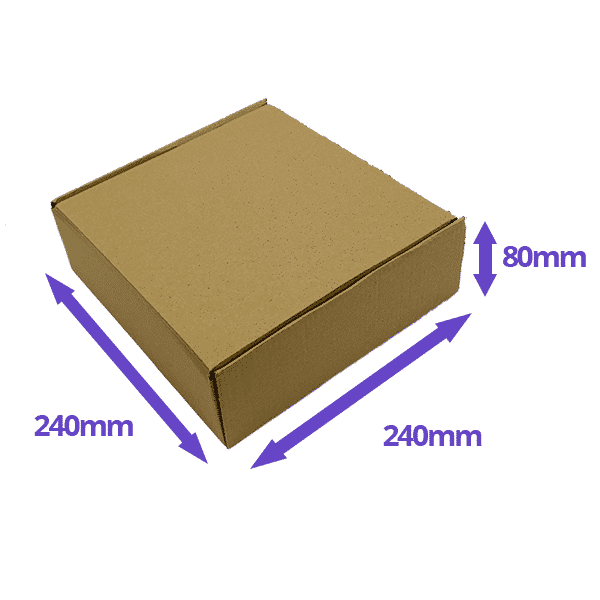 Brown PiP Small Parcel Postal Box - 240x240x80mm - Packs of 10, 25 & 50