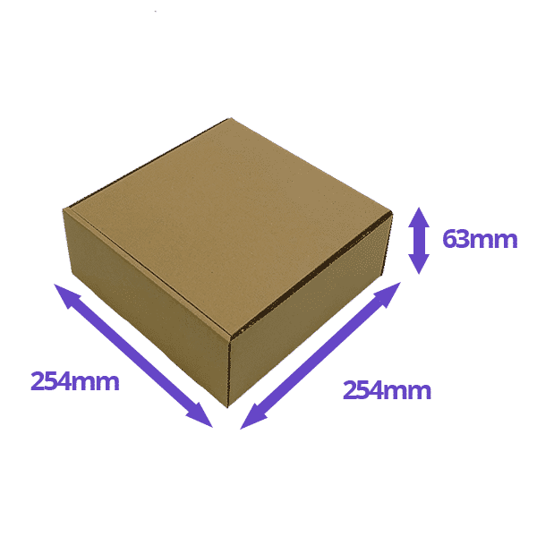 Brown PiP Small Parcel Cake Box - 254x254x63mm - Packs of 10, 25 & 50