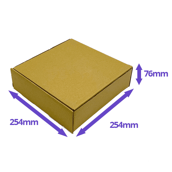 Brown PiP Small Parcel Cake Box - 254x254x76mm - Packs of 10, 25 & 50