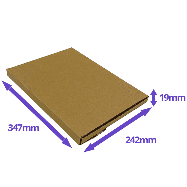 Brown PiP Small Parcel Postal Box - 347x242x19mm - Packs of 10, 25 & 50