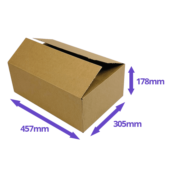 Single Wall Cardboard Boxes - 457x305x178mm - Pack Of 10, 25 & 50