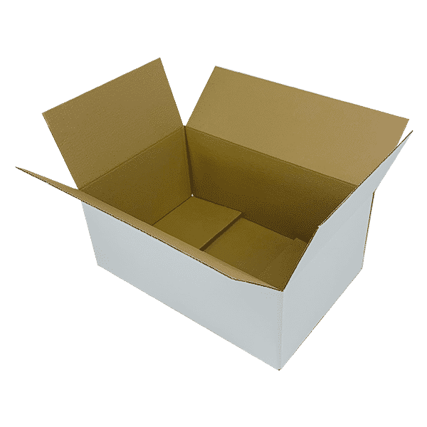 White Single Wall Cardboard Boxes - 525x350x210mm - Pack Of 10, 25 & 50