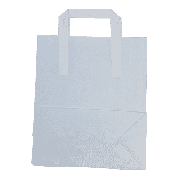 Medium White Tape Handle Paper Carrier Bags - 203x127x254mm