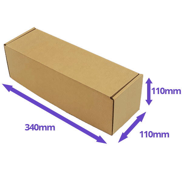 Single Bottle Air Packaging Kit - Includes Air Cushioning Bags, Brown Postal Boxes & Hand Pump - Dimensions