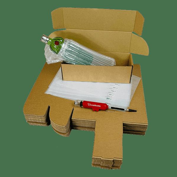 Single Bottle Air Packaging Kit - Includes Air Cushioning Bags, Brown Postal Boxes & Hand Pump
